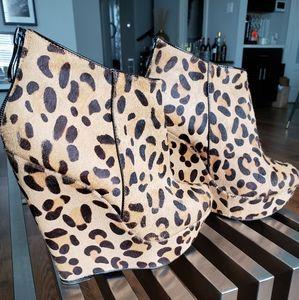 BeBe Leopard Wedge Bootie
